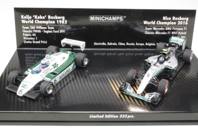 2 Car Set. Williams FW08 1982, Keke / Mercedes W07 2016, Nico