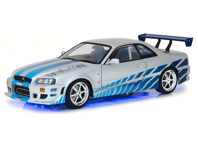 Nissan Skyline GT-R34 1999, hopea/sininen(with real neon lights)